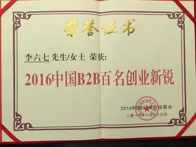 硬之城创始人2016中国B2B电商新锐人物荣誉